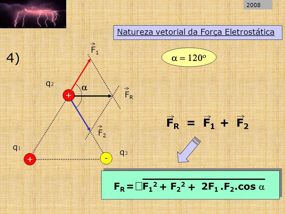 Natureza vetorial da Força Eletrostática 4) + q1q1 q2q2 - + q3q3 F1F1 F2F2 FRFR FRFR = F1F1 F2F2 + + FRFR =F12F12 F22F22 + 2F 1.F 2.cos 2008