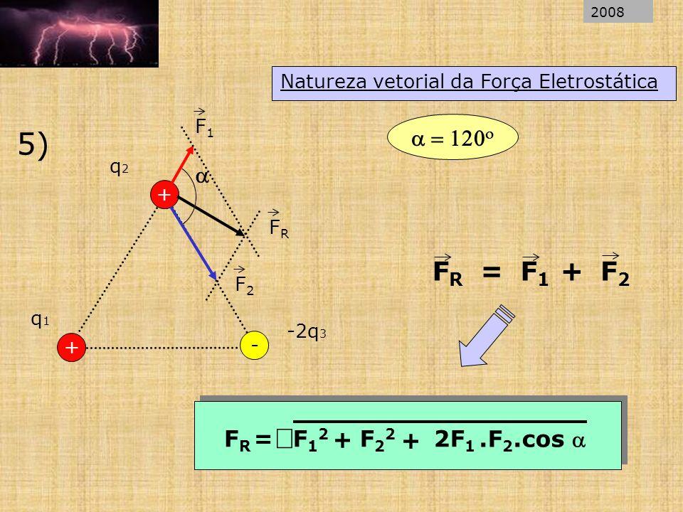 Natureza vetorial da Força Eletrostática 5) + q1q1 q2q2 - + -2q 3 F1F1 F2F2 FRFR FRFR = F1F1 F2F2 + + FRFR =F12F12 F22F22 + 2F 1.F 2.cos 2008