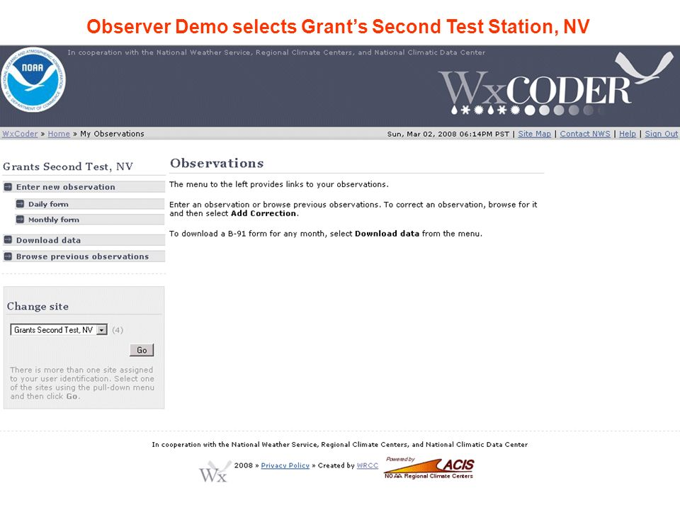 Observer Demo selects Grants Second Test Station, NV