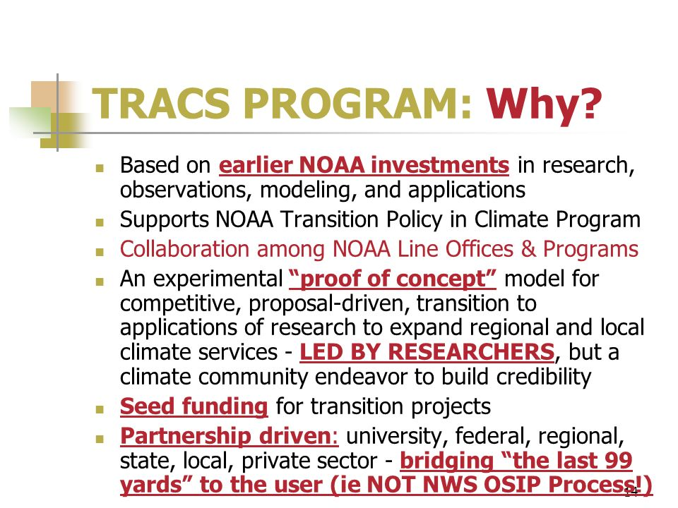 14 TRACS PROGRAM: Why? Based on earlier NOAA investments in research, observations, modeling, and applications Supports NOAA Transition Policy in Clim