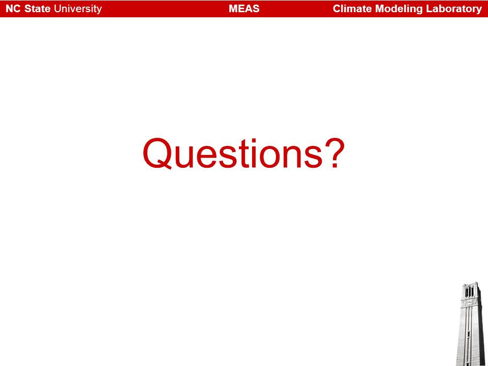 Climate Modeling LaboratoryMEASNC State University Questions