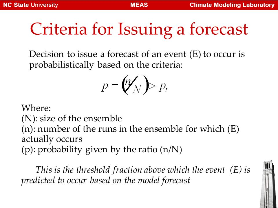 Climate Modeling LaboratoryMEASNC State University Criteria for Issuing a forecast Decision to issue a forecast of an event (E) to occur is probabilis
