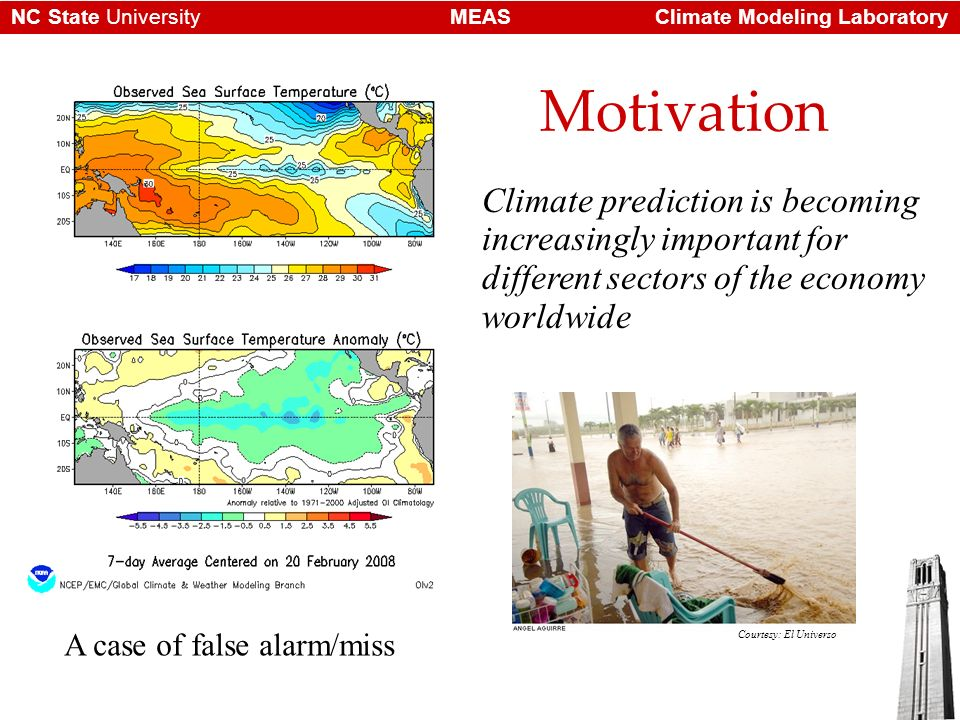 Climate Modeling LaboratoryMEASNC State University Ensemble forecasting Ensemble Prediction System (EPS) forecasting is a method used to account for uncertainties and errors in the forecasting system (recall Chaos theory) Through the ensemble approach one can generate probabilistic forecasts for assessing a future event such as excessive rains, droughts, etc.