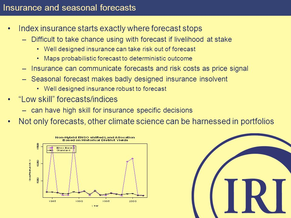 Insurance and seasonal forecasts Index insurance starts exactly where forecast stops –Difficult to take chance using with forecast if livelihood at st
