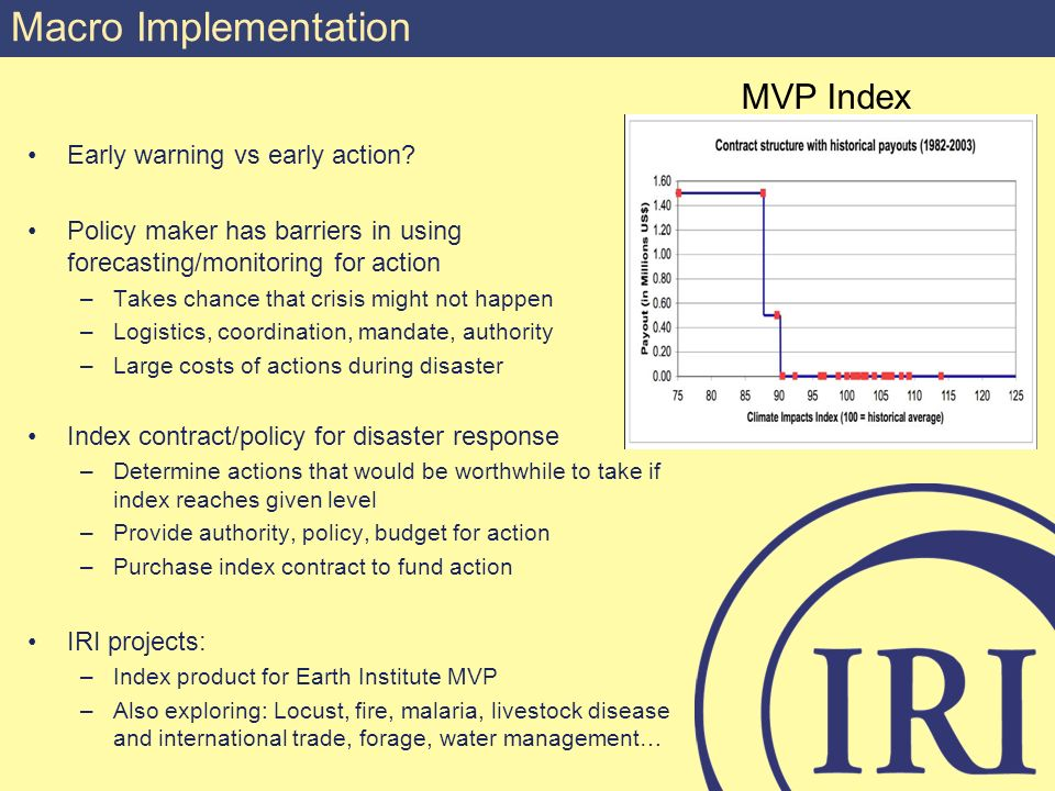 Macro Implementation Early warning vs early action? Policy maker has barriers in using forecasting/monitoring for action –Takes chance that crisis mig