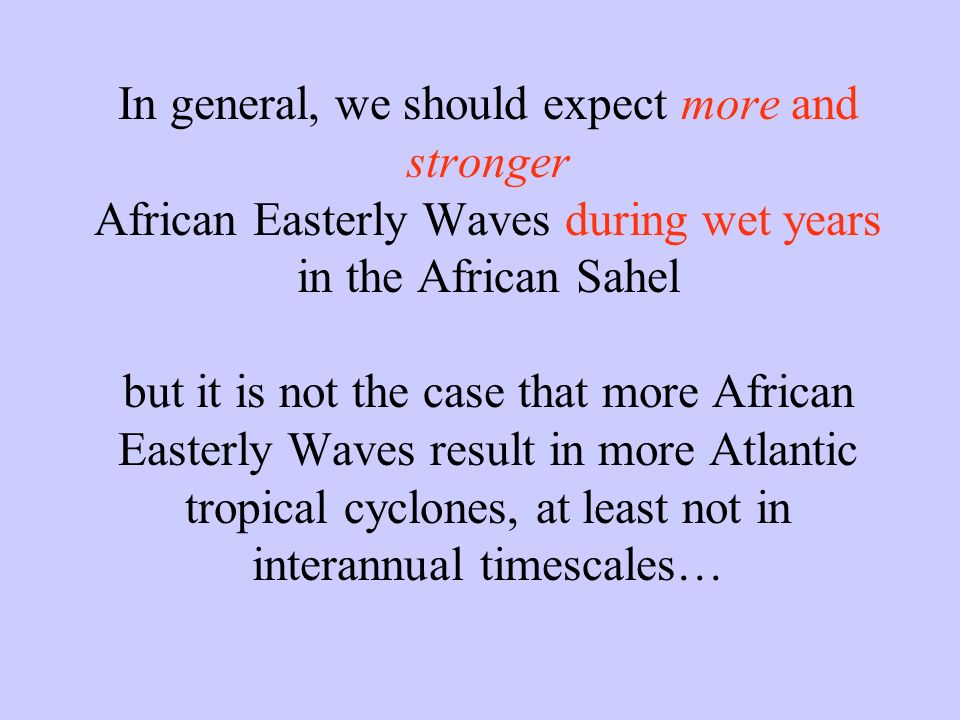 In general, we should expect more and stronger African Easterly Waves during wet years in the African Sahel but it is not the case that more African E