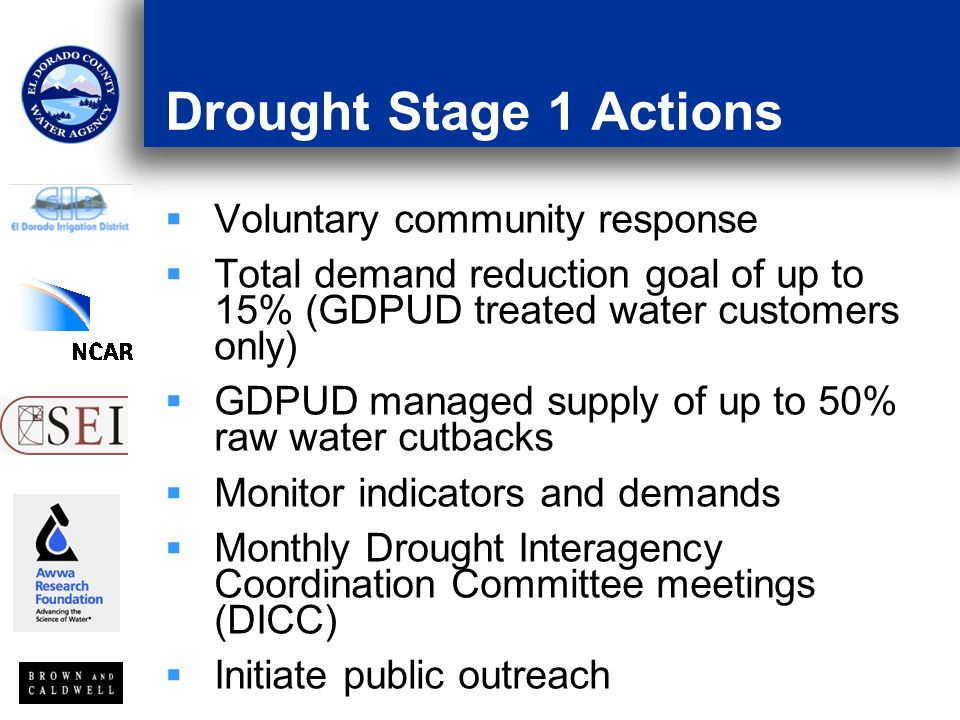 Drought Stage 1 Actions Voluntary community response Total demand reduction goal of up to 15% (GDPUD treated water customers only) GDPUD managed supply of up to 50% raw water cutbacks Monitor indicators and demands Monthly Drought Interagency Coordination Committee meetings (DICC) Initiate public outreach
