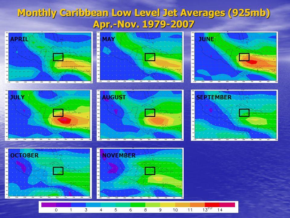 Monthly Caribbean Low Level Jet Averages (925mb) Apr.-Nov. 1979-2007 APRILMAYJUNE JULYAUGUSTSEPTEMBER OCTOBERNOVEMBER
