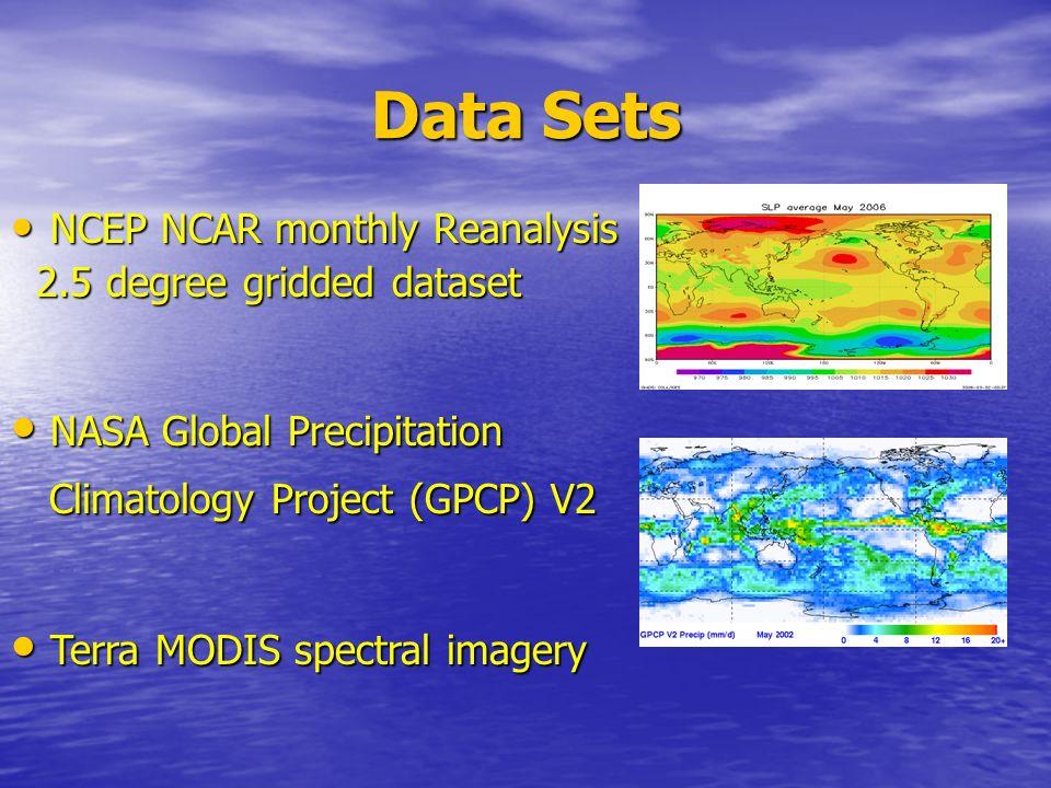 Data Sets NCEP NCAR monthly Reanalysis NCEP NCAR monthly Reanalysis 2.5 degree gridded dataset 2.5 degree gridded dataset NASA Global Precipitation NA