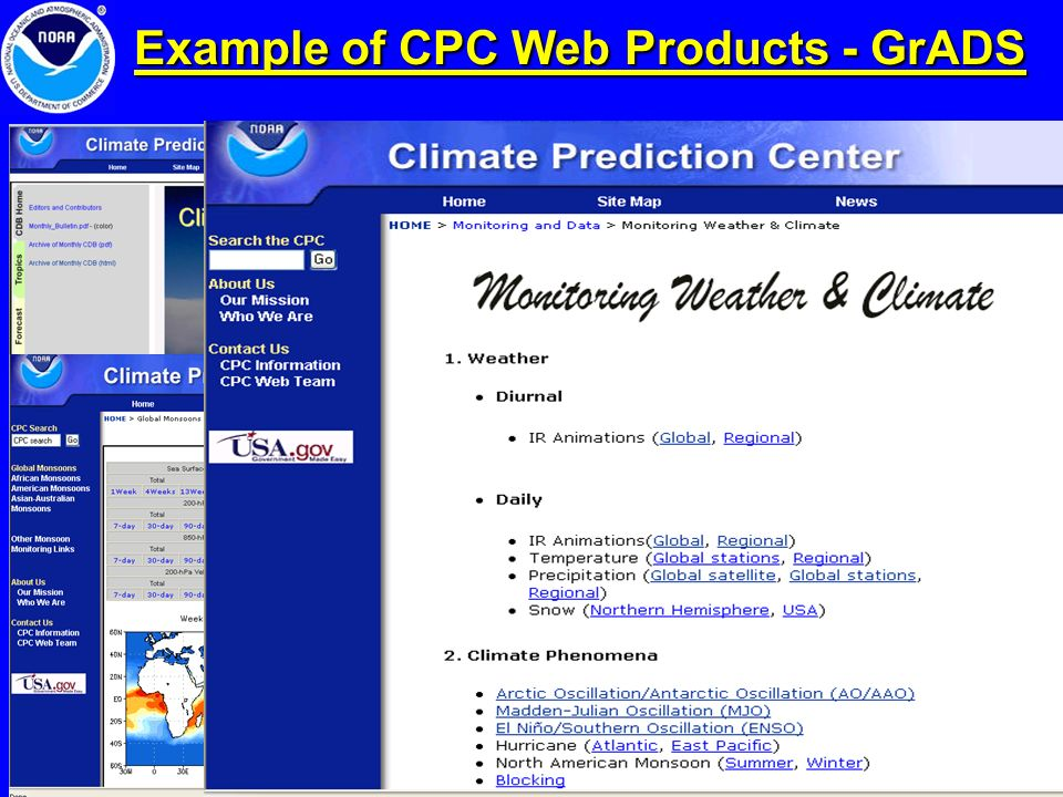 Example of CPC Web Products - GrADS
