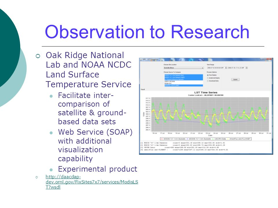 Observation to Research Oak Ridge National Lab and NOAA NCDC Land Surface Temperature Service Facilitate inter- comparison of satellite & ground- based data sets Web Service (SOAP) with additional visualization capability Experimental product http://daacdap- dev.ornl.gov/FixSites7x7/services/ModisLS T?wsdl http://daacdap- dev.ornl.gov/FixSites7x7/services/ModisLS T?wsdl
