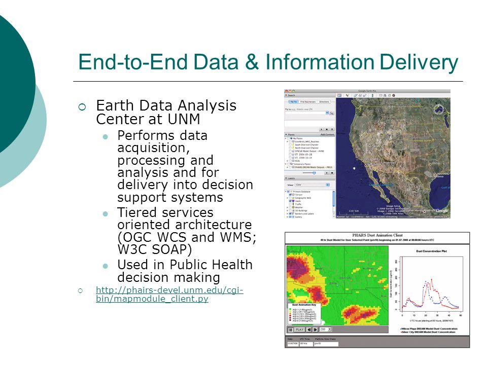 End-to-End Data & Information Delivery Earth Data Analysis Center at UNM Performs data acquisition, processing and analysis and for delivery into decision support systems Tiered services oriented architecture (OGC WCS and WMS; W3C SOAP) Used in Public Health decision making http://phairs-devel.unm.edu/cgi- bin/mapmodule_client.py http://phairs-devel.unm.edu/cgi- bin/mapmodule_client.py