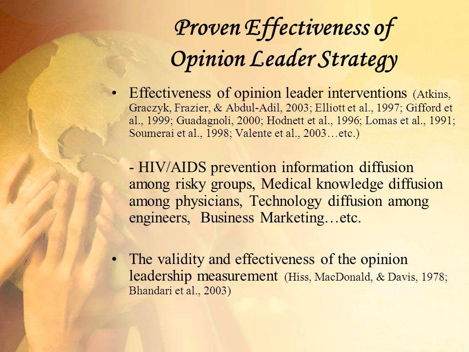 Proven Effectiveness of Opinion Leader Strategy Effectiveness of opinion leader interventions (Atkins, Graczyk, Frazier, & Abdul-Adil, 2003; Elliott e
