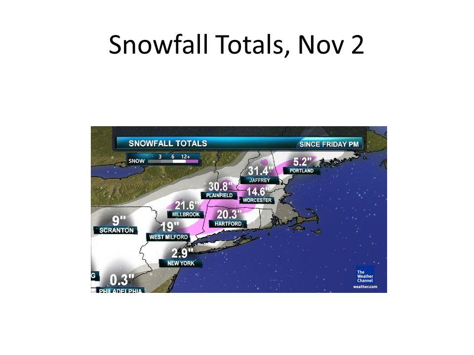 Early November snowfall storm totals