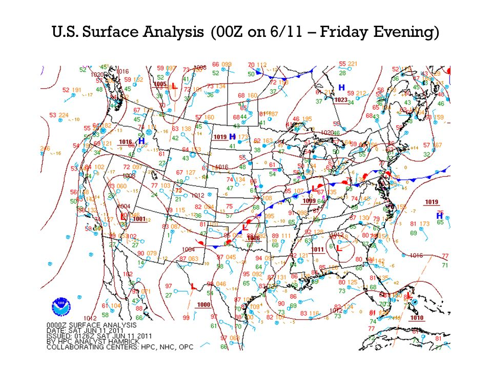 U.S. Surface Analysis (00Z on 6/11 – Friday Evening)