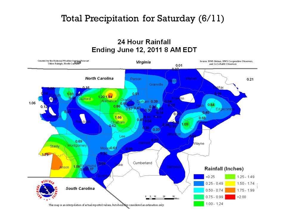 Total Precipitation for Saturday (6/11)