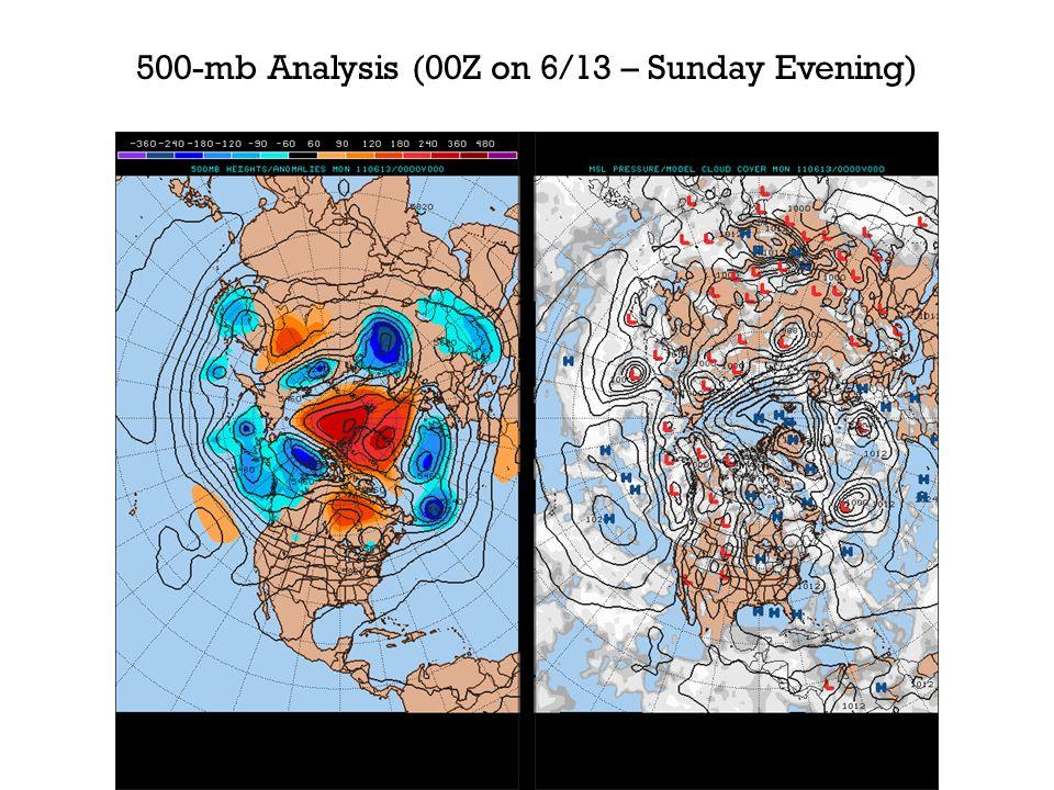 500-mb Analysis (00Z on 6/13 – Sunday Evening)