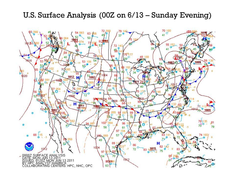 U.S. Surface Analysis (00Z on 6/13 – Sunday Evening)