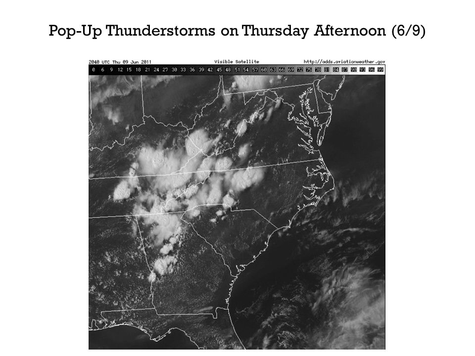 Pop-Up Thunderstorms on Thursday Afternoon (6/9)