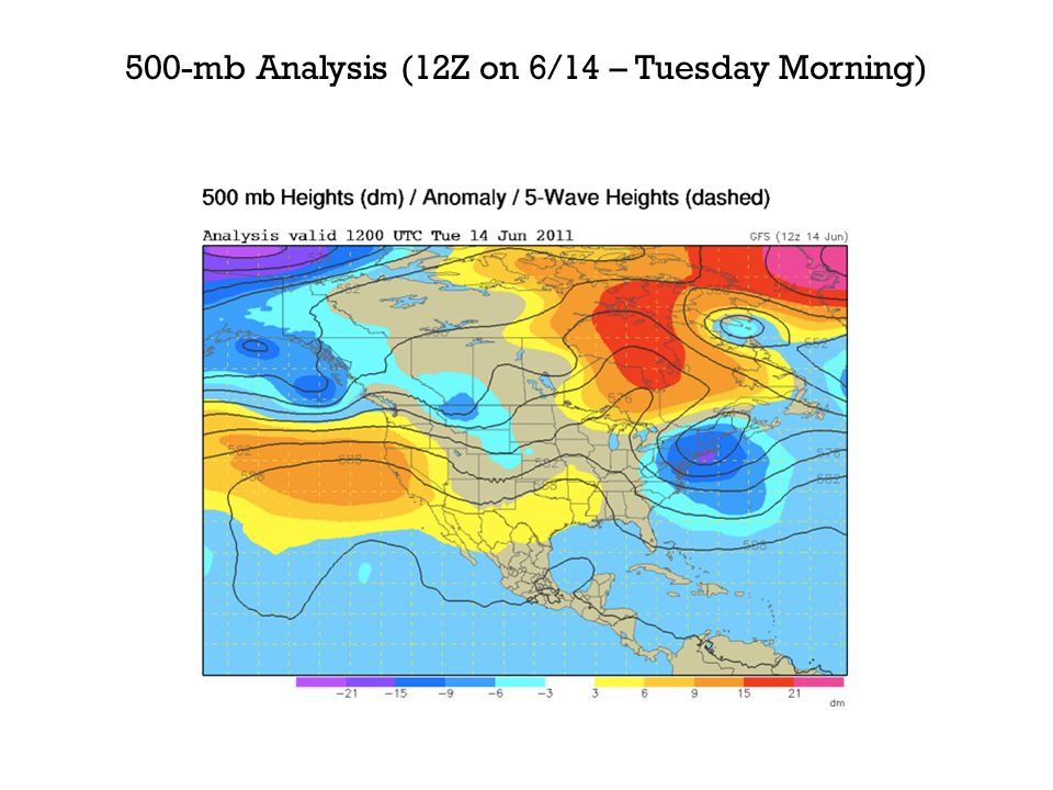 500-mb Analysis (12Z on 6/14 – Tuesday Morning)