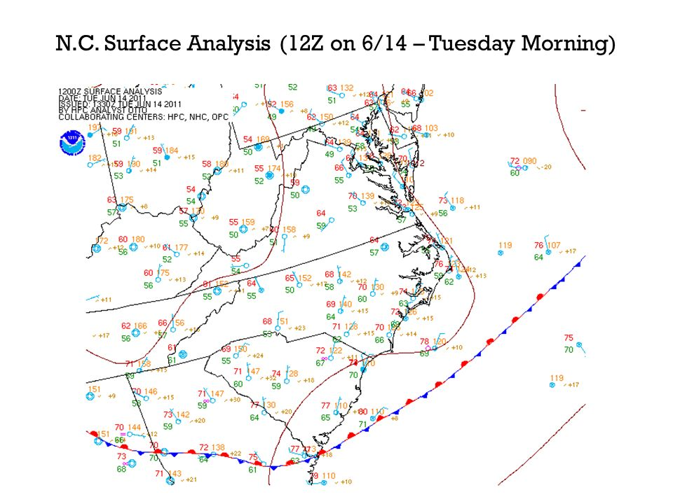 N.C. Surface Analysis (12Z on 6/14 – Tuesday Morning)