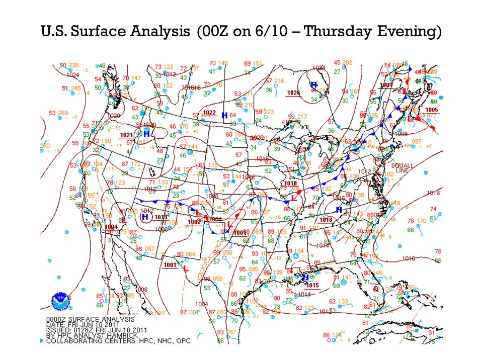 U.S. Surface Analysis (00Z on 6/10 – Thursday Evening)
