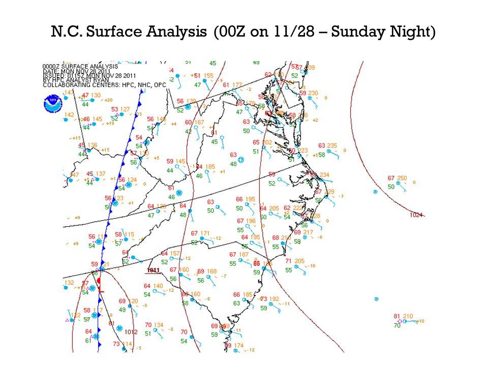 N.C. Surface Analysis (00Z on 11/28 – Sunday Night)