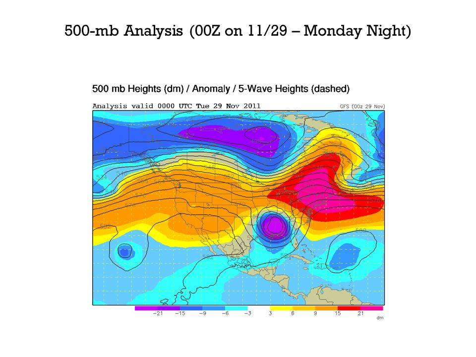 500-mb Analysis (00Z on 11/29 – Monday Night)