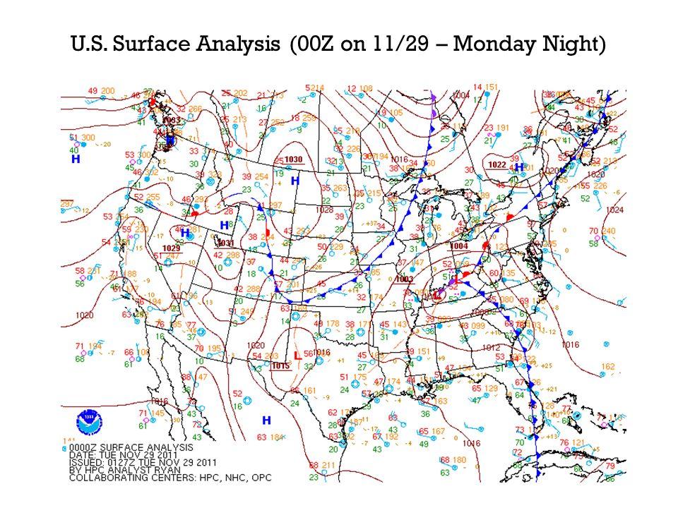 U.S. Surface Analysis (00Z on 11/29 – Monday Night)