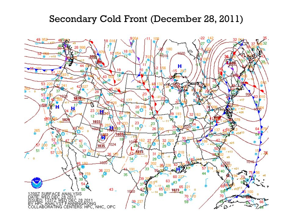 Secondary Cold Front (December 28, 2011)