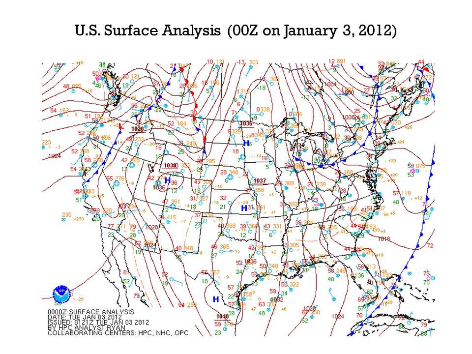 U.S. Surface Analysis (00Z on January 3, 2012)