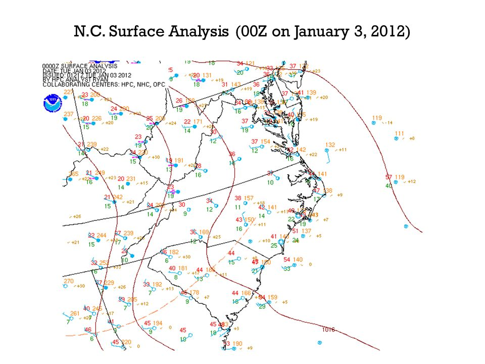N.C. Surface Analysis (00Z on January 3, 2012)