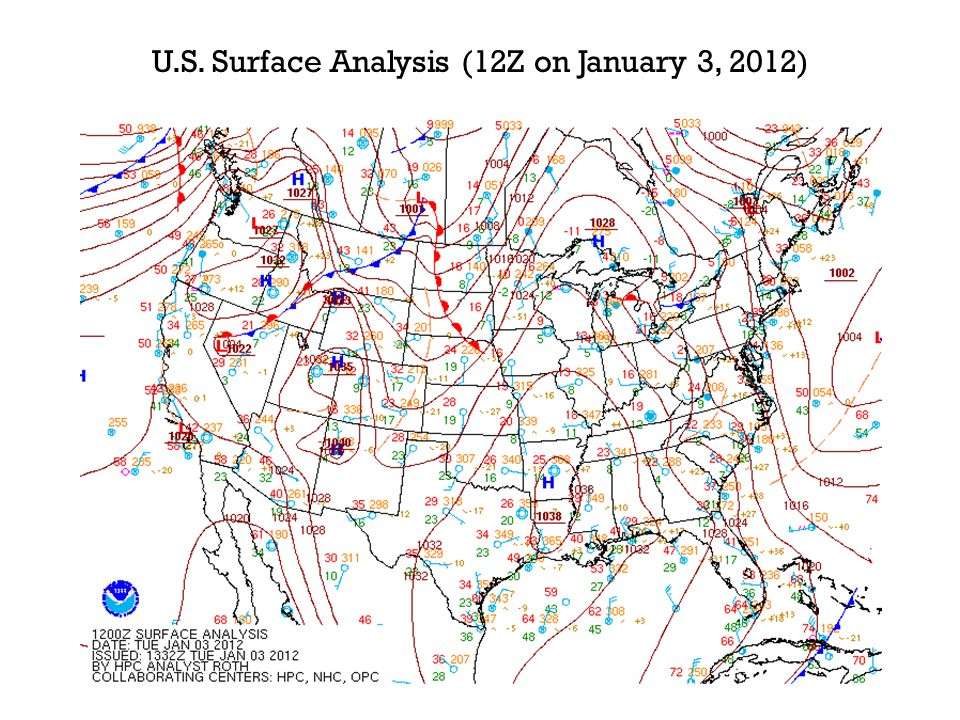 U.S. Surface Analysis (12Z on January 3, 2012)