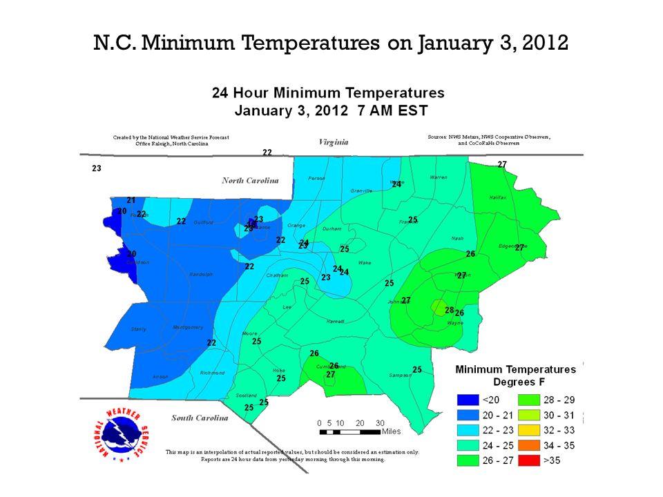 N.C. Minimum Temperatures on January 3, 2012