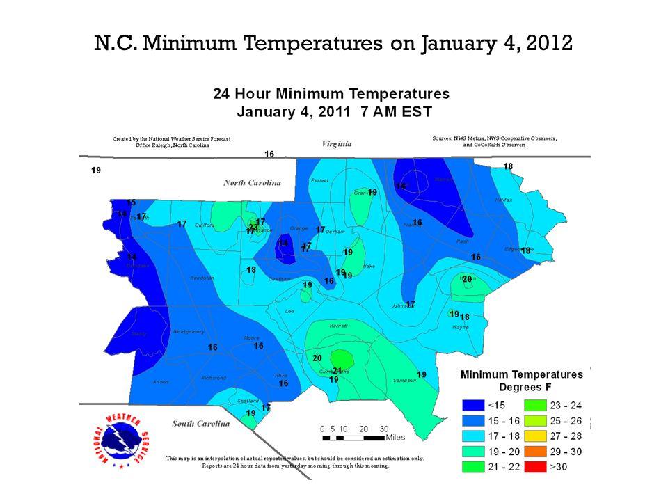 N.C. Minimum Temperatures on January 4, 2012