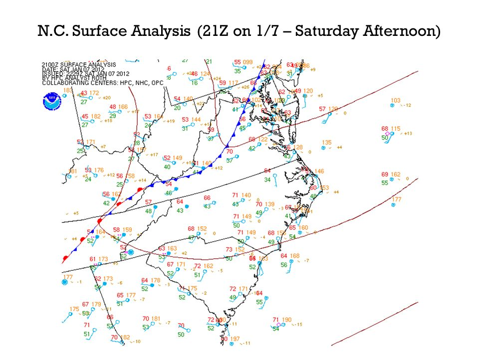 N.C. Surface Analysis (21Z on 1/7 – Saturday Afternoon)