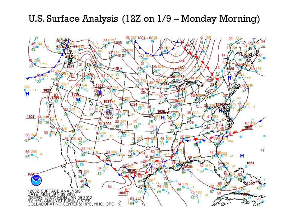 U.S. Surface Analysis (12Z on 1/9 – Monday Morning)