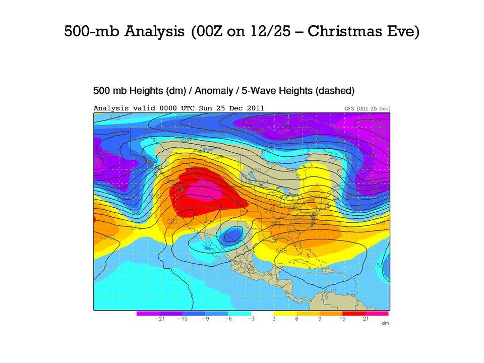 500-mb Analysis (00Z on 12/25 – Christmas Eve)