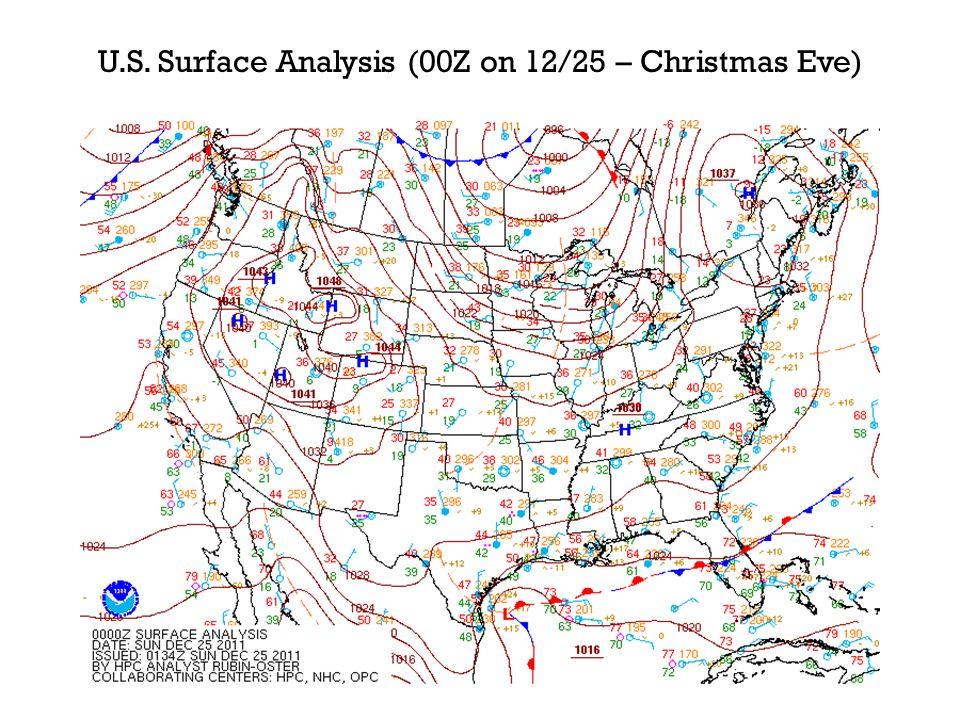 U.S. Surface Analysis (00Z on 12/25 – Christmas Eve)
