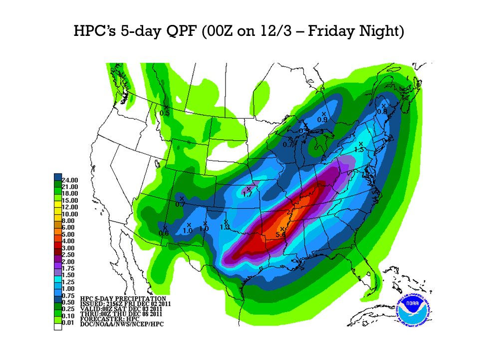 HPCs 5-day QPF (00Z on 12/3 – Friday Night)