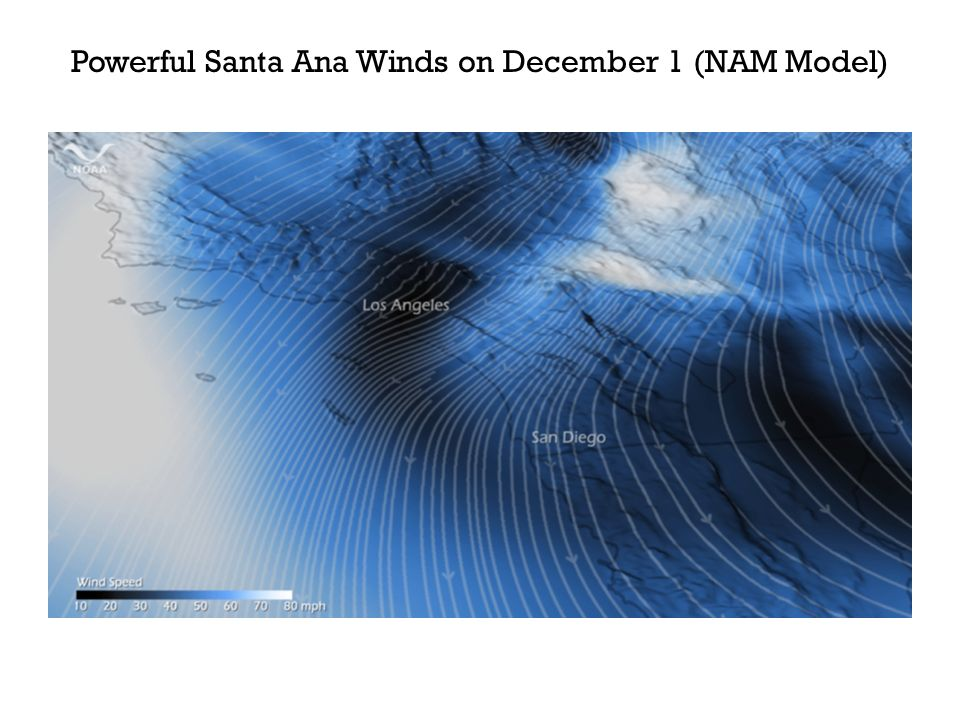Powerful Santa Ana Winds on December 1 (NAM Model)
