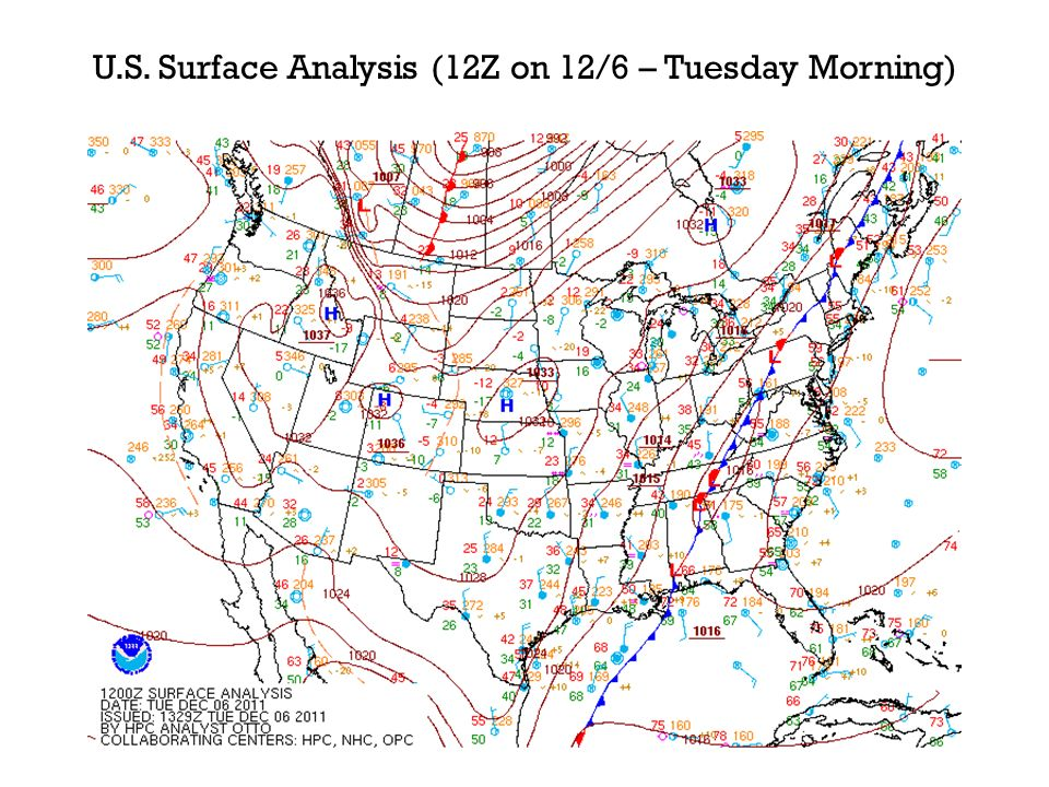 U.S. Surface Analysis (12Z on 12/6 – Tuesday Morning)