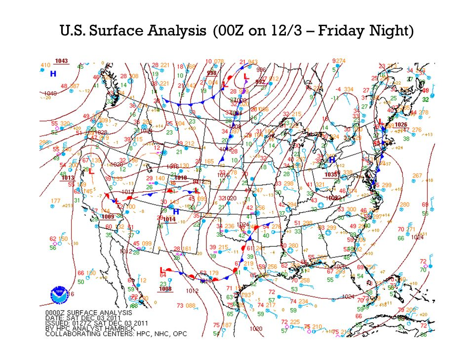 U.S. Surface Analysis (00Z on 12/3 – Friday Night)