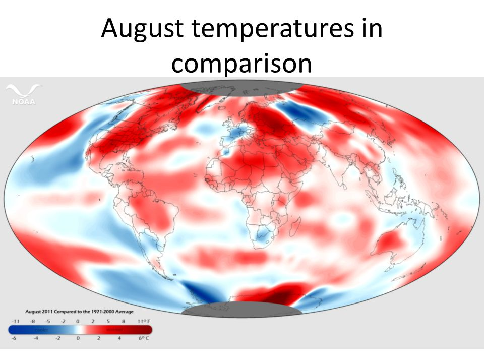 August temperatures in comparison