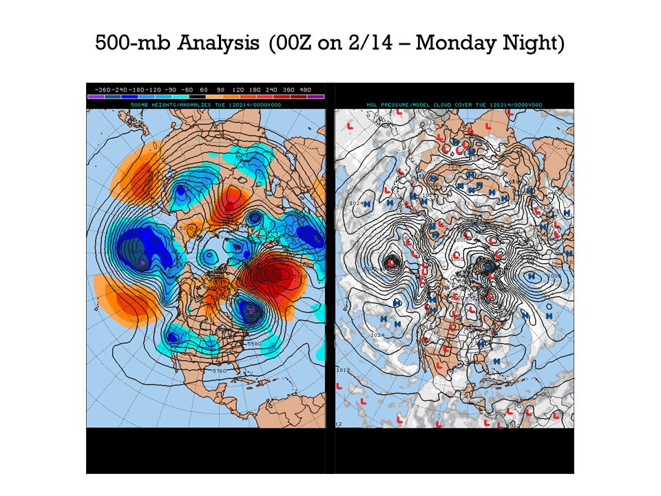 500-mb Analysis (00Z on 2/14 – Monday Night)