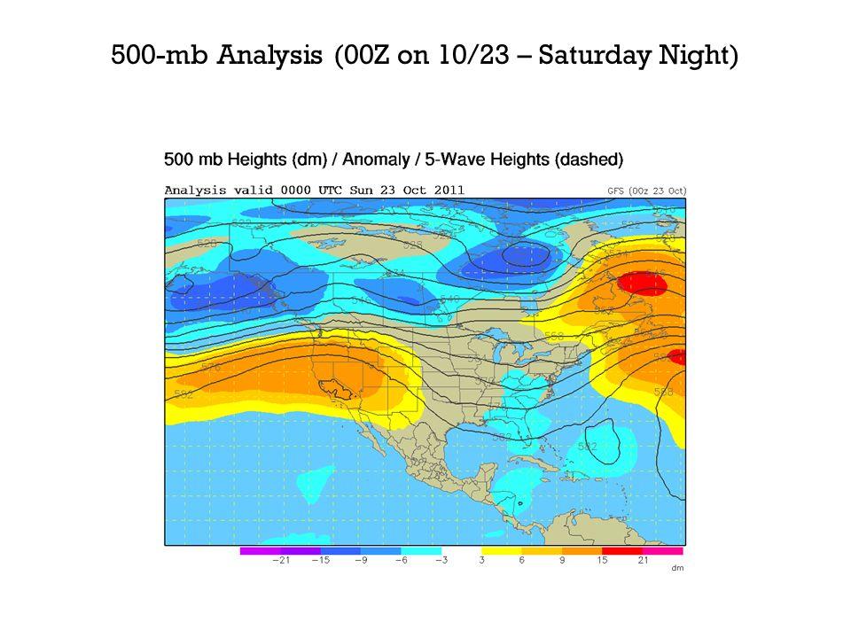 500-mb Analysis (00Z on 10/23 – Saturday Night)