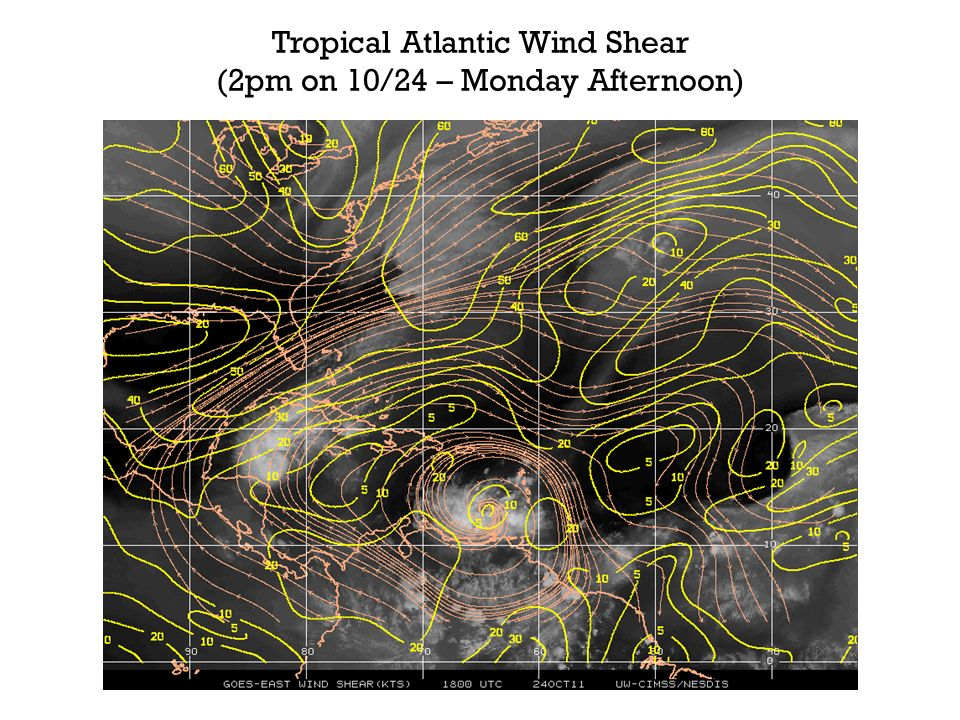 Tropical Atlantic Wind Shear (2pm on 10/24 – Monday Afternoon)