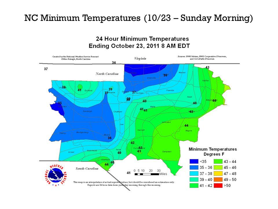 NC Minimum Temperatures (10/23 – Sunday Morning)
