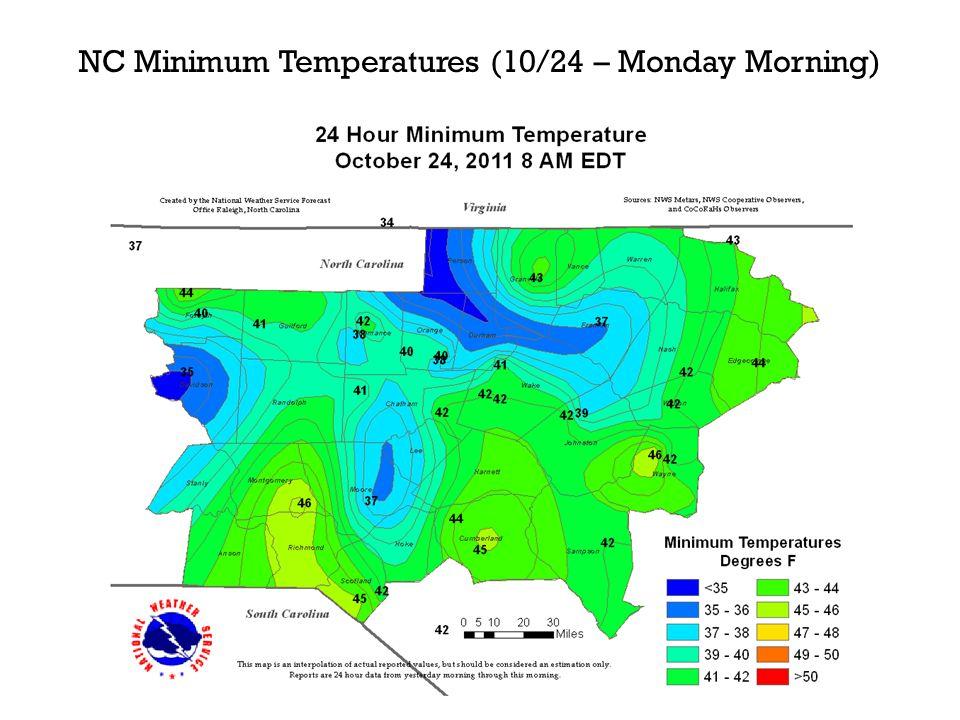 NC Minimum Temperatures (10/24 – Monday Morning)