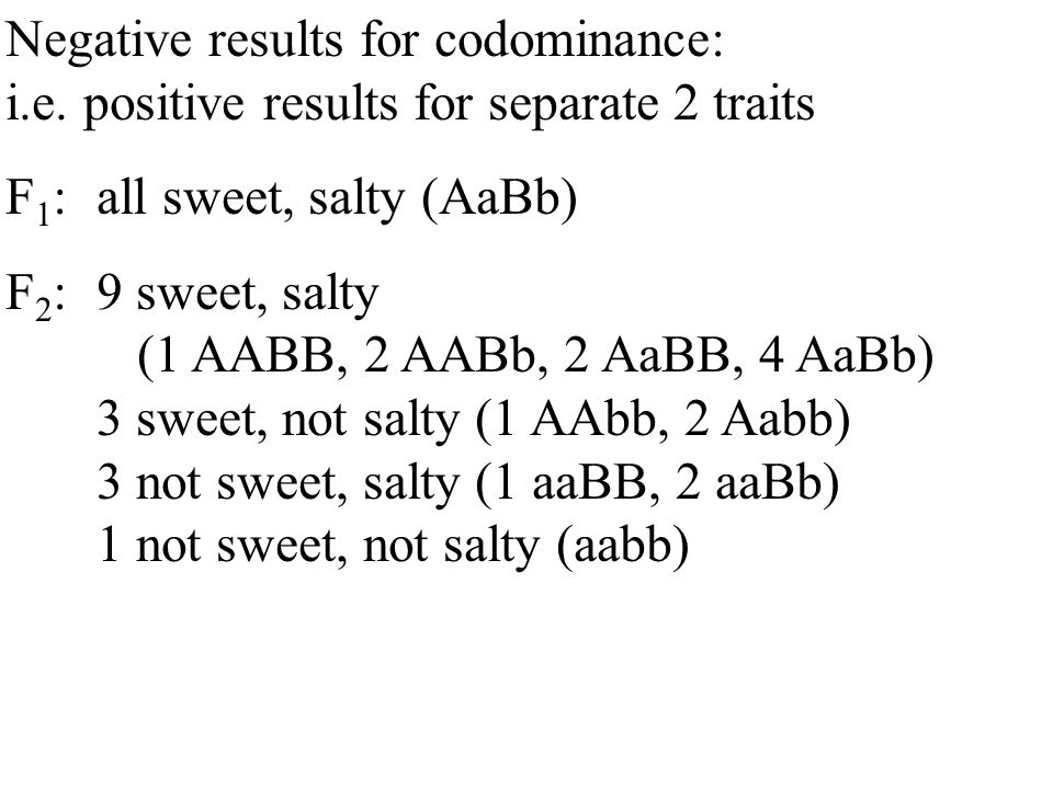 Negative results for codominance: i.e.